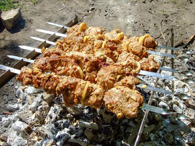 Seis espetos com carne são fritos no fogo na floresta