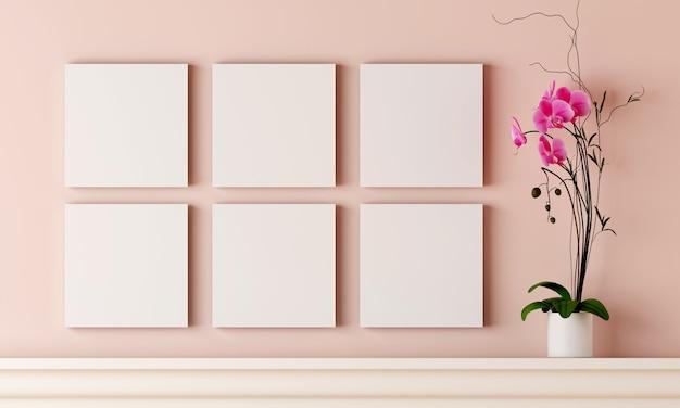 Seis porta-retrato em branco na parede de madeira rosa pastel têm vaso de flores colocado na lareira.