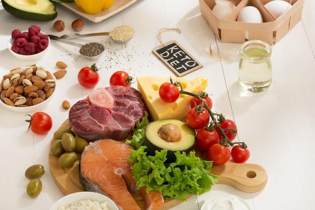 Seleção de alimentos dietéticos cetogênicos com baixo teor de carboidratos