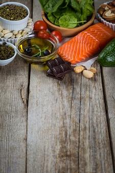 Seleção de alimentos nutritivos - coração, colesterol, diabetes