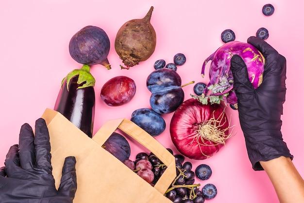 Seleção de alimentos roxos