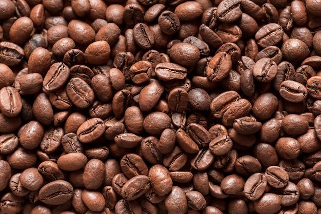 Seleção de close-up de grãos de café