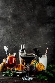 Seleção de coquetéis de halloween