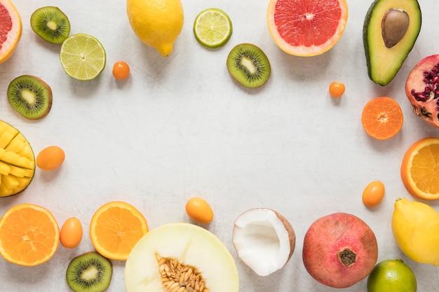 Seleção de deliciosas frutas exóticas e frescas