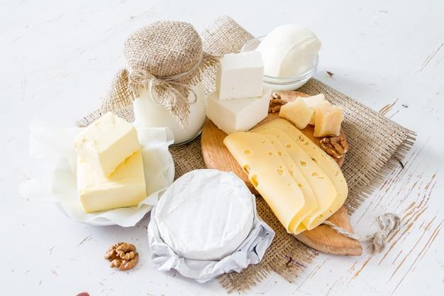 Seleção de leite e produtos lácteos