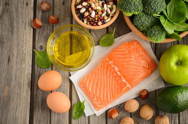 Seleção de produtos saudáveis.