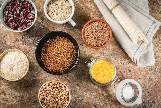 Seleção de produtos sem glúten, vários cereais
