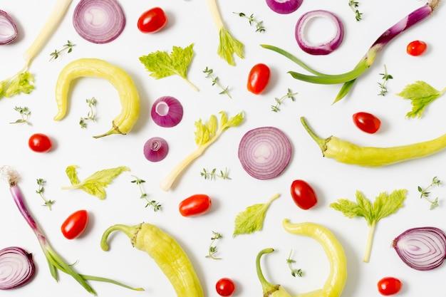 Seleção de vista superior de legumes frescos
