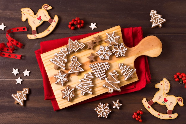 Seleção plana de biscoitos de gengibre