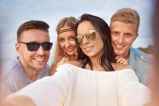 Selfie de todos os quatro amigos