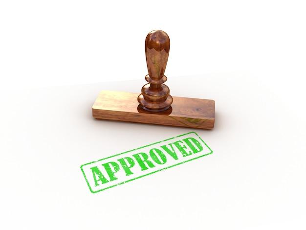 Selo aprovado em branco, renderização 3d