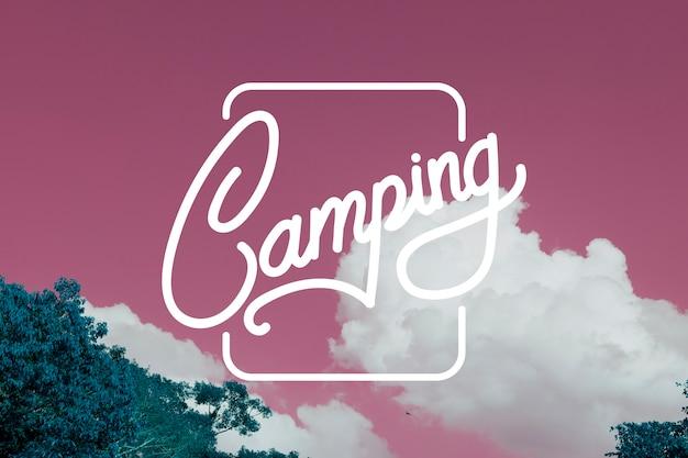 Selo de bandeira de padrão gráfico de viagens em acampamento
