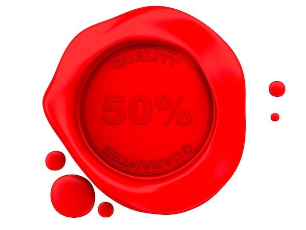 Selo de cera vermelha 3d em fundo branco