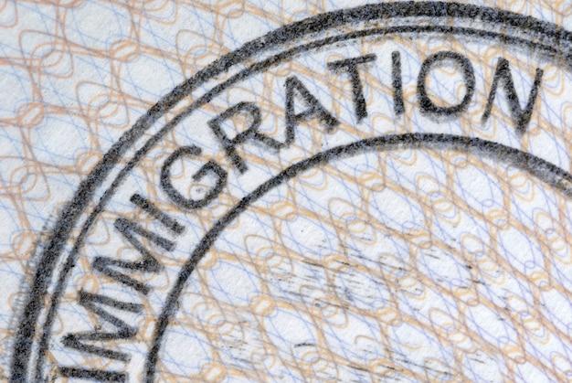 Selo de imigração de passaporte