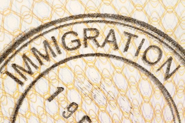 Selo do passaporte da imigração