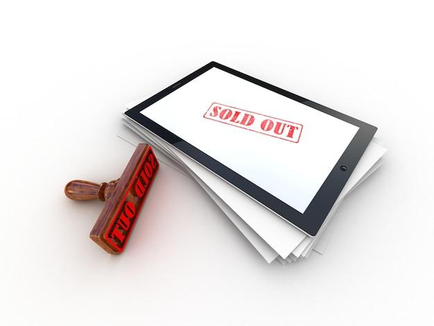 Selo vendido na tela de um computador tablet, renderização 3d