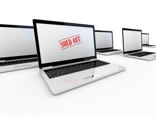 Selo vendido na tela de um laptop, renderização 3d