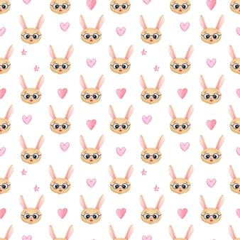 Sem costura fundo aquarela infantil com cabeças de lebre em copos com corações rosa e estrelas em um fundo branco. impressão para meninas, dia dos namorados ou namorados