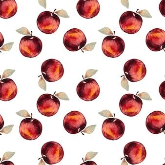 Sem costura padrão aquarela com maçãs vermelhas em um fundo branco.