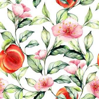 Sem costura padrão aquarela com mão desenhada pêssegos. diferentes tipos de peças.
