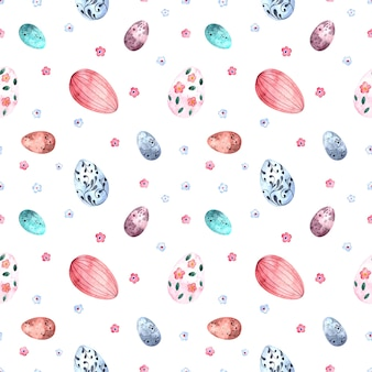 Sem costura padrão aquarela com ovos coloridos de páscoa em um fundo branco.