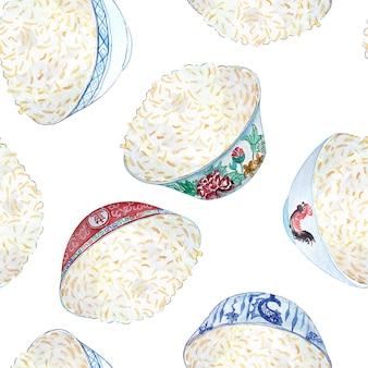 Sem costura padrão aquarela com tigelas coloridas de arroz nele.