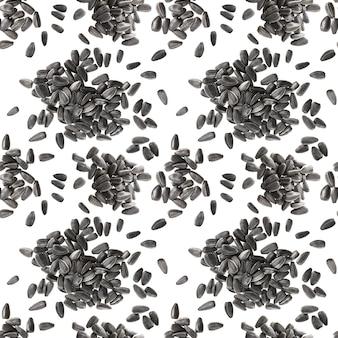 Sem costura padrão de sementes de girassol pretas