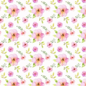 Sem costura padrão floral com aquarela e folhas verdes em branco.