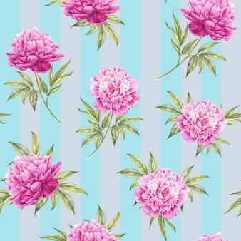 Sem costura padrão floral com rosas, aquarela.