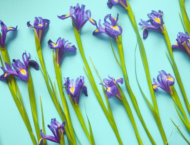 Sem costura padrão floral sobre um fundo azul