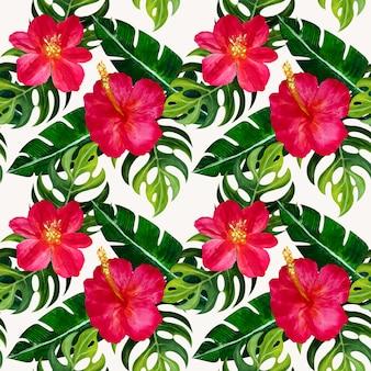 Sem costura padrão tropical com flores.