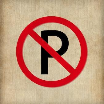 Sem placa de estacionamento no fundo branco