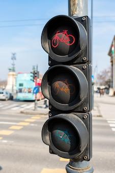 Semáforo para uma bicicleta na europa