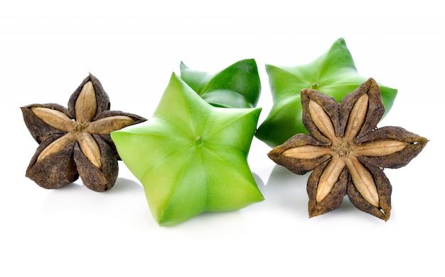 Semente de sacha inchi, sacha mani ou star inca ervilhas em branco