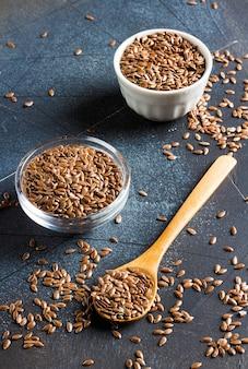 Sementes de linho linhaça superfood saudável conceito de comida orgânica