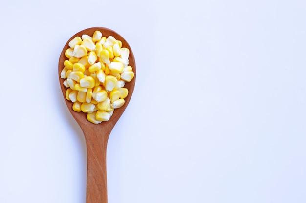 Sementes de milho na colher de pau, fundo branco