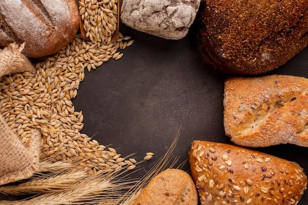 Sementes e bolos de trigo