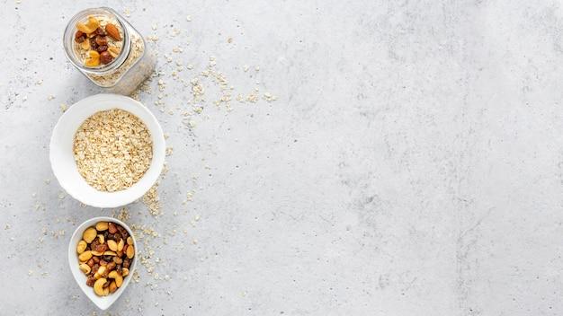 Sementes e cereais no café da manhã