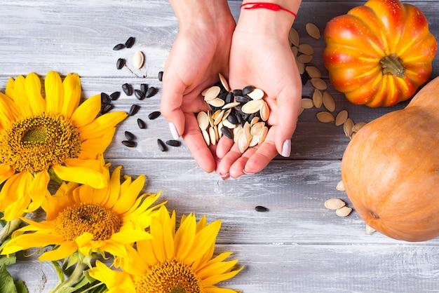 Sementes orgânicas diferentes estão segurando as mãos femininas em um fundo cinza de madeira