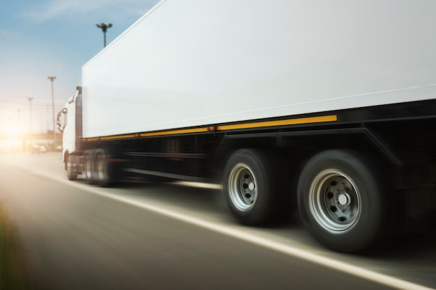 Semi truck driving on highway road freight truck logistics cargo transport transport concept