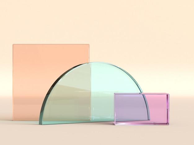 Semicírculo e objetos quadrados transparentes