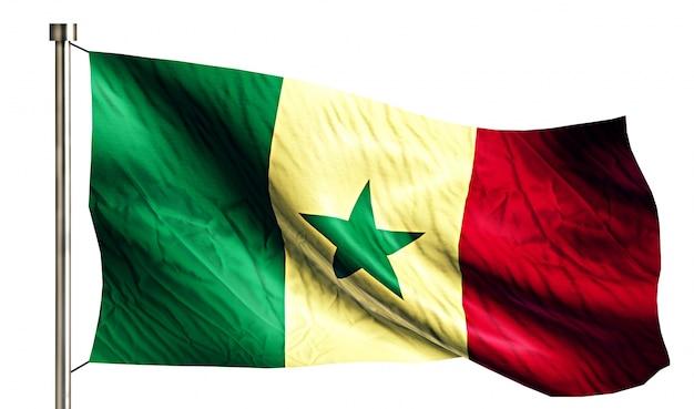 Senegal bandeira nacional isolada 3d fundo branco