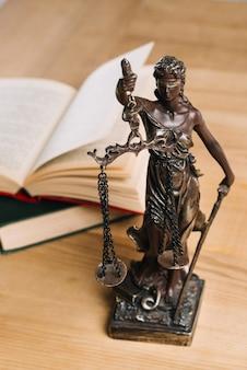 Senhora da justiça e livros de direito na mesa de madeira