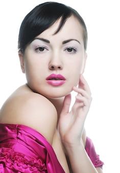Senhora sexy com lábios rosa