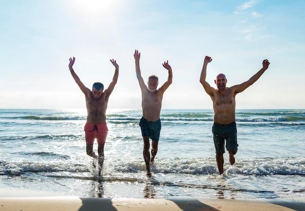 Sênior, amigos, desfrutando, a, praia, em, a, verão
