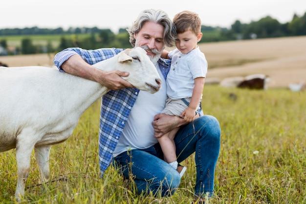 Sênior segurando o garotinho e abraçando cabras