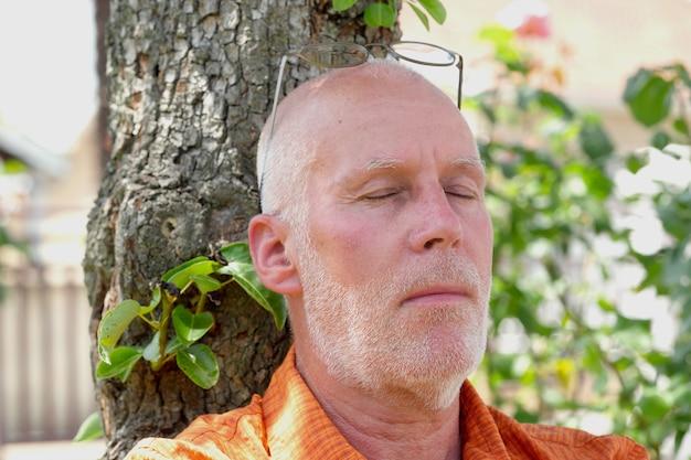 Senior tira uma soneca sob a árvore