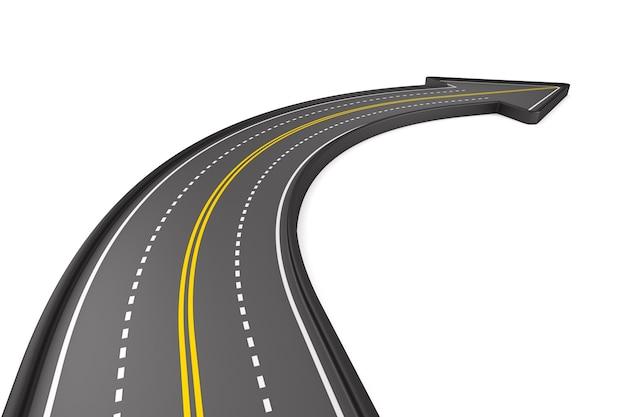 Sentido da estrada na superfície branca. ilustração 3d isolada
