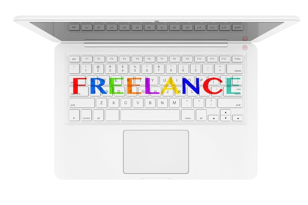 Sentimento cadastre-se sobre o teclado do laptop em um fundo branco. renderização 3d