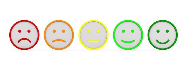 Sentimentos e emoções em fundo branco. ilustração 3d isolada